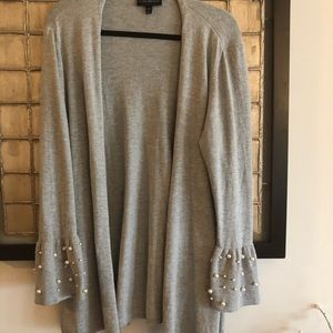 Lane Bryant Light Grey Sweater w/Pearls